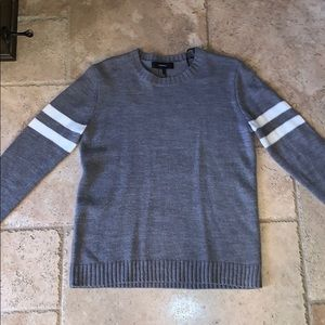 Gray Sweater with white stripes on the arm